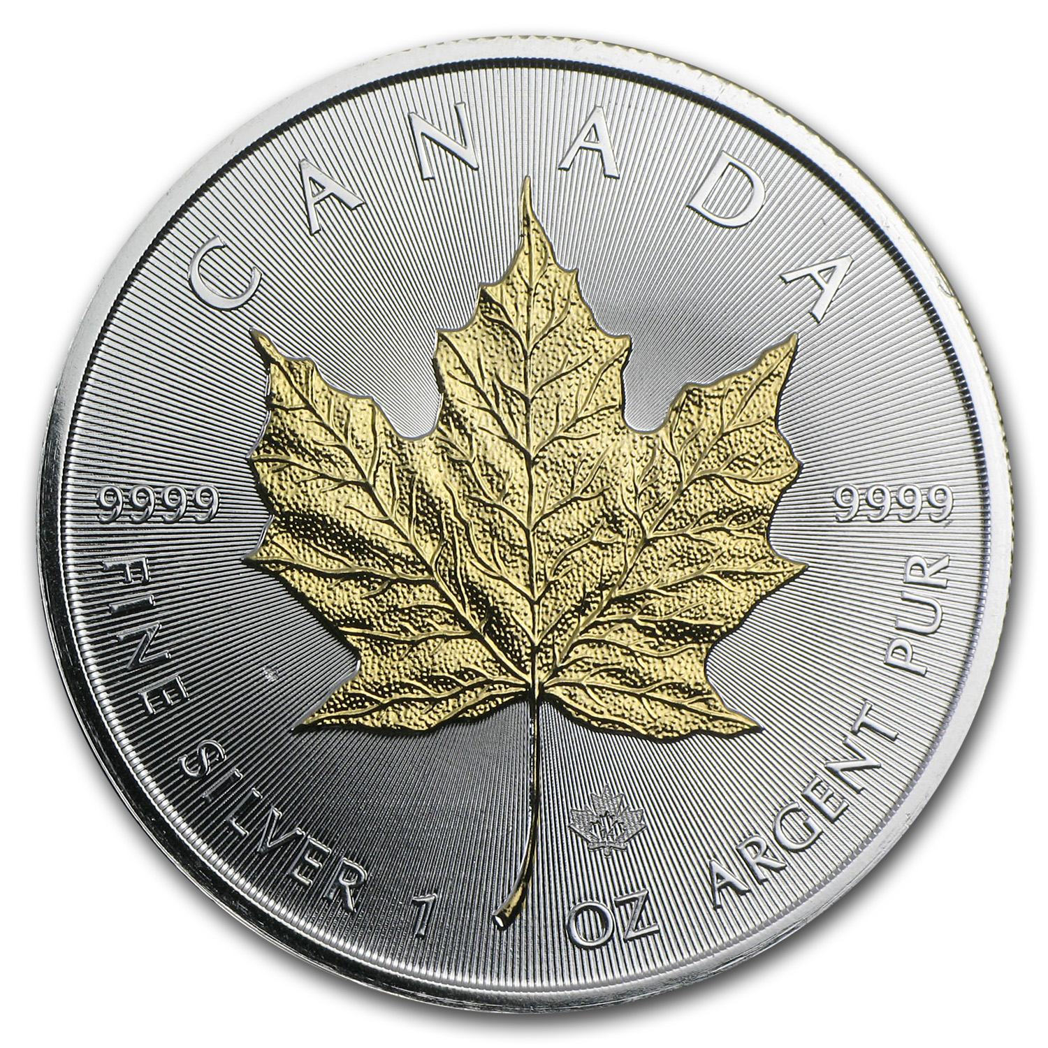 2014 1 oz Silver Canadian Maple Leaf BU (Gilded)